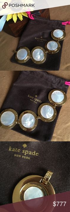 "Kate Spade All Aboard Cruise bracelet Stunning statement bracelet in true KSNY fashion!! 4 heavy 12k gold plated disc ""portholes"" encircle mother of pearl for a glamorous and eye-catching bracelet. 7"". Wow!! Comes with dust bag. Excellent excellent condition!! Retail $270. kate spade Jewelry Bracelets"