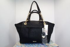 Jessica Simpson Satchel Black with shiny raised dots on sides, Gold Hardware NWT #JessicaSimpson #Satchel