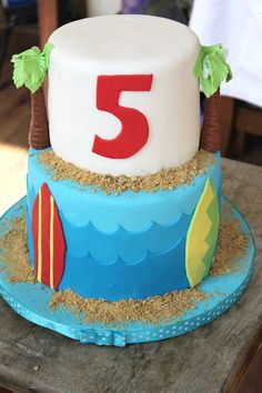 Surf and Sand Birthday Cake - The Little Epicurean Pool Birthday Cakes, Pool Party Cakes, Surf Cake, Surfboard Cake, Splash Party, Minnie Cake, Beach Cakes, Celebration Cakes, Themed Cakes