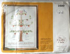 """$15.98/ VINTAGE 1983 Counted Cross Stitch kit """"Family Tree"""" by The Creative Circle~  Kit includes:  14 ct. 100% aida cloth, cotton embroidery floss, needle, and instructions. Finished product is 12"""" x 16"""" ~https://www.etsy.com/shop/ShellysSweetFinds"""