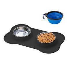 TryAce Dog Bowl Stainless with No Spill No Skid Silicone Folding 2 Bowls Food and Water for Pets (Black)