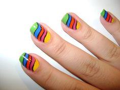 unhas arco iris como fazer dicas