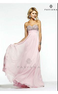 Faviana S7385, beaded chiffon ice pink prom dress Picture #faviana #promdresses