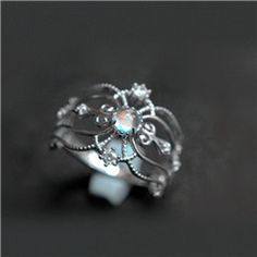 Chic Antique Art Deco Moonstone Sterling Silver Promise Ring