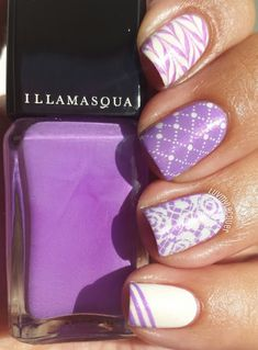 Illamasqua Purple Nailart - #illamasqua #purple #lavender #tigerprint #crisscross #stripes #marble #nailart #nailartist #luvmylacquer - bellashoot.com