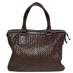 BOTTEGA VENETA oversized brown intrecciato woven leather tote bag | From a collection of rare vintage shoulder bags at https://www.1stdibs.com/fashion/handbags-purses-bags/shoulder-bags/