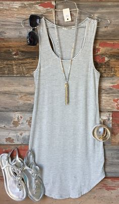 Let's Have Some Fun Striped Tank Dress: Grey from privityboutique