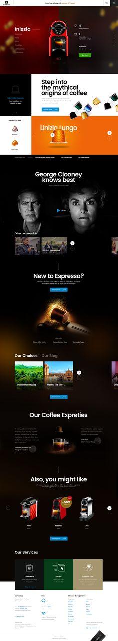 Nespresso Conceptual Page – Ui design and visual identity by Vitali Zahharov. Ui Design, Layout Design, Visual Identity, Nespresso, The Originals, Landing, Concrete, Desktop, Corporate Design
