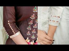 Kataria sisters Hello everyone today I will show you how to make beautiful sleeves designs . In this video I showed two types of sleeves designs Beautiful beaded sleeves designs in very easy wayBeautiful Sleeves Designs Cutting and Stitching - Kur Kurti Sleeves Design, Sleeves Designs For Dresses, Kurta Neck Design, Dress Neck Designs, Sleeve Designs, Salwar Pattern, Sewing Sleeves, Churidar Designs, Stitching Dresses