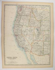 Old Oregon Map Washington State Map Vintage WA Map OR - Washington oregon map