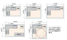 L型キッチンのタイプと寸法の図_1