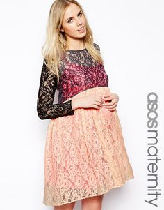 4720f75461a83 ASOS Maternity Exclusive Lace Skater Dress With Contrast Lining save -80%  today Black Friday