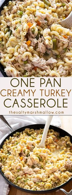 One Pan Turkey Casserole is a mouthwatering family favorite way to use up leftover turkey! This creamy and cheesy turkey casserole with pasta is so easy to make in one pan! Pasta Casserole, Casserole Dishes, Casserole Recipes, Pasta Recipes, Chicken Recipes, Cooking Recipes, Healthy Recipes, Cafe Recipes, Meatball Recipes