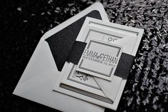 Black and White Glamour Invitations, Glitter Wedding Invitations, Letterpress, Eat Drink and Be Married
