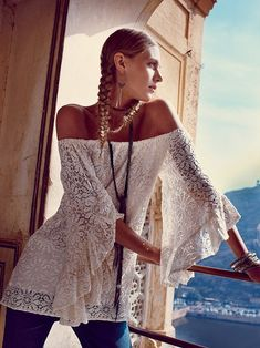 Sexy boho chic lace top with hippie style braids. FOLLOW http://www.pinterest.com/happygolicky/the-best-boho-chic-fashion-bohemian-jewelry-gypsy-/ for the BEST Bohemian fashion trends in clothing  jewelry.