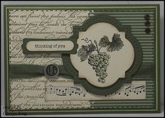 The stamp sets used are Nature's Pace, En Francais and Teeny Tiny Sentiments.  Coloured the image with Always Artichoke on the leaves and Certainly Celery on the grapes.