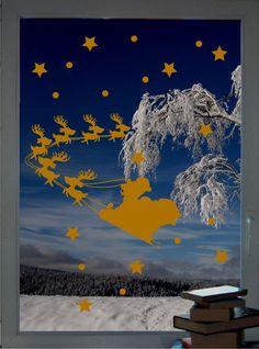 Rentiergespann & Sterne - Fenstertattoo Set - ein Designerstück von CatrinKerschl bei DaWanda