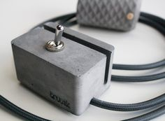 Handcrafted concrete pendant lamp and concrete switch with stylish textile cord. dark grey + anthracite #ConcreteLamp