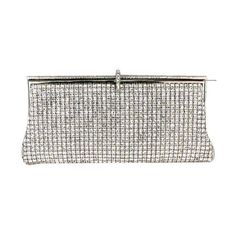 MG Collection Silver Crystal Rhinestones Soft Baguette Evening Clutch... ❤ liked on Polyvore featuring bags, handbags, clutches, crystal evening bags, white purse, silver evening purse, evening purses and white clutches