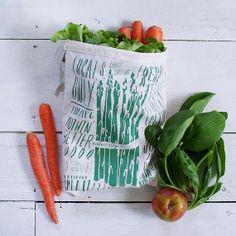 Hand printed produce bag from Slide Sideways