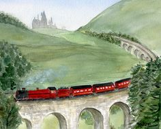 Inspired by Harry Potter, this is an art print of my original watercolor painting of the Hogwarts Express with Hogwarts castle in the