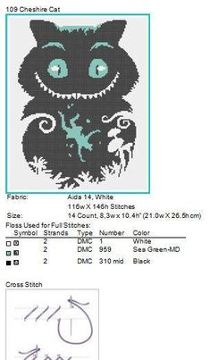 #109 Cheshire Cat-Alices Adventures in Wonderland- cross stitch pdf Pattern - pdf pattern instant download For your consideration is a beautiful counted cross stitch pattern/chart as shown in the picture. Pattern Details: This pattern is in PDF format and consists of a floss