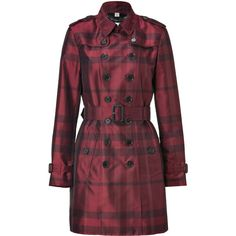 BURBERRY LONDON Alizari Crimson Checked Mountbrook Trench Coat ($1,200) ❤ liked on Polyvore