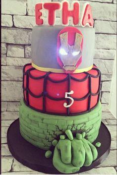 Avengers cake. Iron man, Spider-Man, hulk