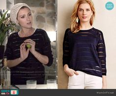 April's sheer striped sweater on Chasing Life.  Outfit Details: http://wornontv.net/50421/ #ChasingLife
