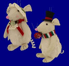 Plush Male or Female Mouse Ornaments by Raz