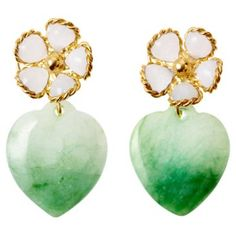 Check out this item at One Kings Lane! Jade Flower Earrings, Opaline
