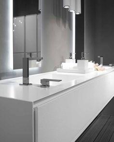 Grifo lavabo con mando independiente del caño (monomando). Ambos colocados en la encimera-lavabo. Es un viejo concepto trasladado a nuestros días. #bath