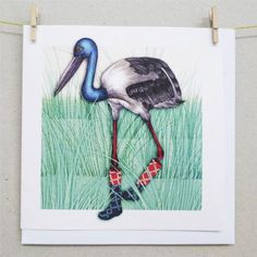Cards - Black-Necked Stork
