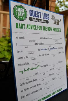 mad libs for the guests of the baby shower
