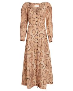 Mara Hoffman Net Sustain Silvana Snake-print Tencel And Linen-blend Midi Dress In Brown Style Surfer, Cashmere Coat, Mara Hoffman, Fitted Bodice, Dress Outfits, Dresses, A Line Skirts, World Of Fashion, Rip Curl