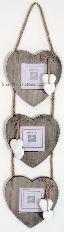 Hanging rustic wooden heart picture frames.