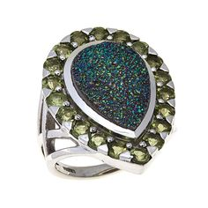 2bd830149 Himalayan Gems™ Pear-Shaped Drusy and Gemstone Sterling Silver Ring -  Himalayan, Pear