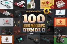 100 Logo Mockups Bundle Vol.4 by pixaroma on @creativemarket