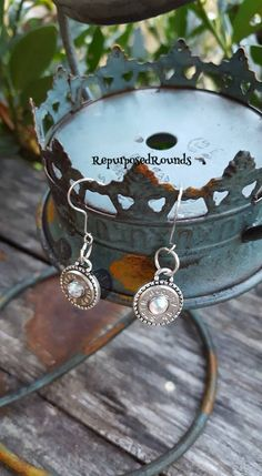 Bullet earrings/ 45's/ nickel shell/beaded bezels/color reflecting crystals/ hypoallergenic fish hooks by RepurposedRounds on Etsy