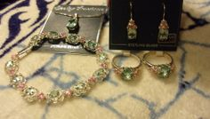 Aquamarine/Green Ice/Pink & Sterling Silver Necklace/Earrings/Bracelet/Rings Set