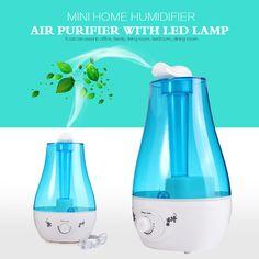 25 와트 탁상 3L 물 병 미니 홈 초음파 가습기 정수기 LED 램프 공기 청정기 디퓨저