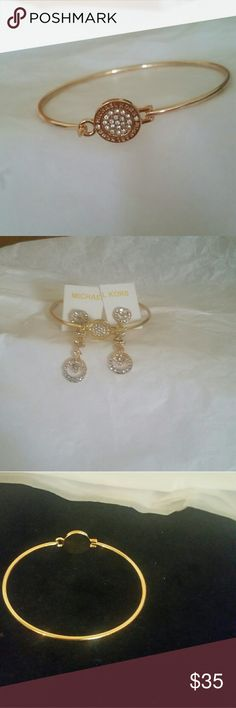 MK bracelet and dangling earrings MK BRACELET GOLD WITH DIAMOND CRYSTALS, EARRINGS GOLD WITH CRYSTALS Michael Kors Jewelry