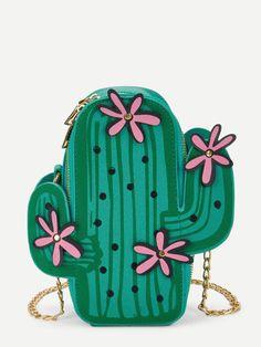 Girls Cactus Design Chain Bag