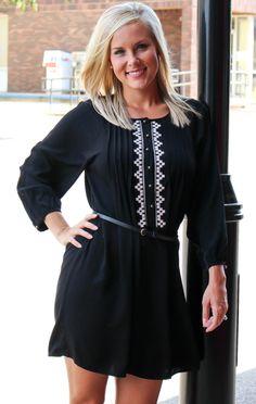 Black Embroidered Dress (belt included)
