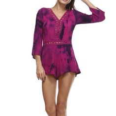 Tea n Cup Bohemian Fuchsia / Purple Tie Dye Romper 100% Cotton. Sizes Available: Small (2), Medium (2), Large (1). ☮ This bohemian romper fits perfect // with a side zipper and front closure button for a tight fit on top and at the waist with just the right amount flow at the bottom. Follow IG @ FollowTheSunBoutique Tea n Cup Other