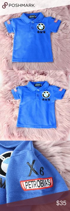 """BMW Motorsports Sauber F1 Racing Embroidered Polo Highly detailed BMW Racing Polo. Small on tag. Measurements 10"""" chest, 13"""" length. Approximately fits a 3t/4t. •CONDITION: pre owned.  •FLAWS: No pilling, stains, or rips.  • If you like it, feel free to make me a reasonable offer -OR- bundle your likes for me and I'll send you an offer with an exclusive discount! New items added regularly, so check back in often for Streetwear, vintage, hype gear, athlesiure, and designer threads! BMW Shirts…"""
