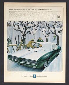 1969 Pontiac GTO Original Advertisement Muscle Car AD Snow US Ski Team  Artwork