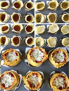 Lasagna cups  quick easy meal. kids meal / food