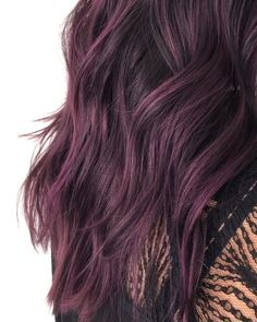 Deep Purple Hair, … - All For Hair Color Balayage Deep Purple Hair, Red Violet Hair, Violet Hair Colors, Hair Color Purple, Green Hair, Blue Hair, Burgundy Hair, Blonde Color, Red Purple