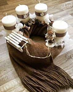72 Trend Simple Rustic Winter Christmas Centerpiece – Welcome My World Christmas Advent Wreath, Nordic Christmas, Christmas Table Decorations, Christmas Candles, Modern Christmas, Winter Christmas, Christmas Time, Christmas Sweaters, Christmas Crafts